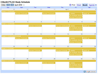 Free bar exam review study schedule templates | barreviewsolutions. Com.